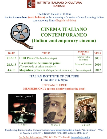 Poster Cinema Italiano Contemporaneo _marzo 2013_
