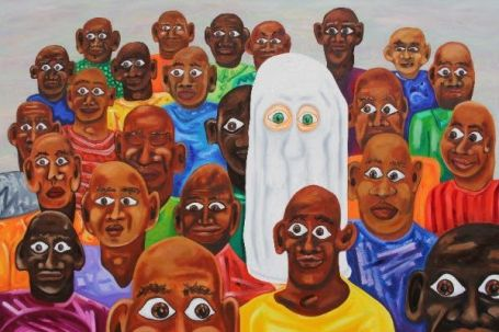 Ghost in a crowd, 2014, Oil on canvas, 100cm x 150cm by Clinton Kirkpatrick